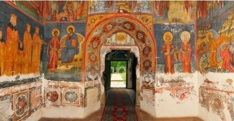 """Tabloul votiv în pandant cu scena Anastasis, travea occidentală a naosului bisericii """"Înălțării Cinstitei Cruci"""", Pătrăuți, după 1487. Foto: Emil Dragnev"""
