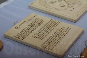 Poezia lui Mihai Eminescu, scrisă pe lemn
